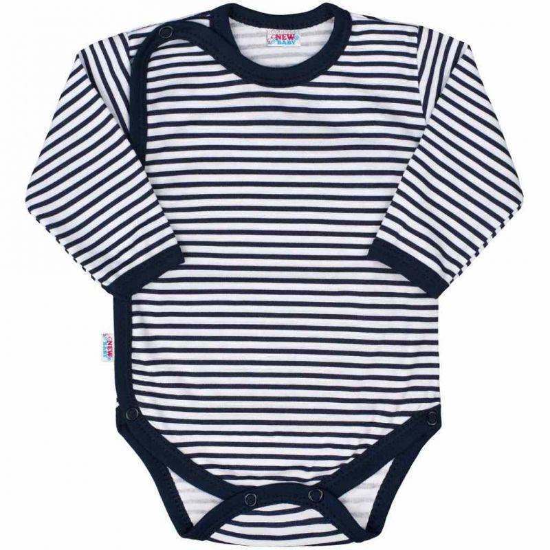 Kojenecké celorozepínací body New Baby Classic II s modrými pruhy 34959
