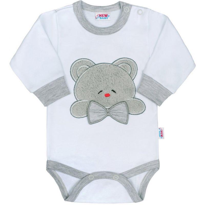 Luxusní kojenecké body s dlouhým rukávem New Baby Honey Bear s 3D aplikací 32556