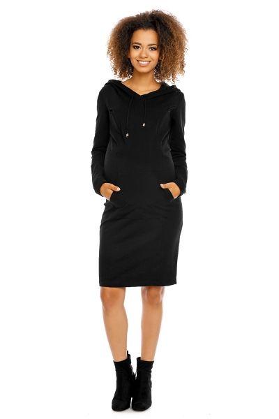 Be MaaMaa Těhotenské a kojící šaty s kapucí, dl. rukáv - černé