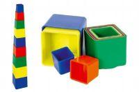 Kubus pyramida skládanka hranatá plast asst 4 barvy 9ks v sáčku 9x9x9cm 12m+