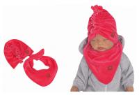 Z&Z Stylová dětská jarní/podzimní velurová čepice, turban s šátkem, amarant, 44/48cm