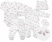 Baby Nellys 5-dílná soupravička do porodnice Ptáčci - ecru/růžová, vel. 68