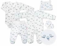 Baby Nellys 5-dílná soupravička do porodnice Ptáčci - ecru/modrá, vel. 68