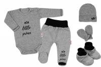 Baby Nellys 5-ti dílná soupravička do porodnice Little Prince - šedá