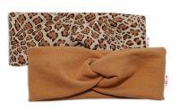 BABY NELLYS Dětské čelenky Gepard, sada 2 kusů - hnědá, gepard, vel. 1-2 roky