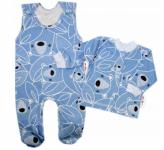 Baby Nellys  2-dílná sada, bavlněné dupačky s košilkou Medvídek, modrá, vel. 68