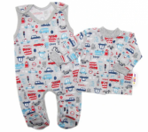 Baby Nellys  2-dílná sada, bavlněné dupačky s košilkou Auta, šedá, vel. 68