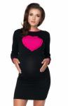 Be MaaMaa Těhotenská, kojící noční košile srdce, dl. rukáv - černá, vel. XXL