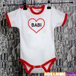 Baby Dejna Body kr. rukáv  SRDÍČKO BABI - bílé/červený lem