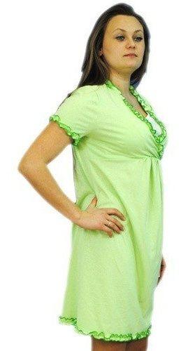 Be MaaMaa Těhotenská, kojící noční košile s volánkem - sv. zelená, vel. L/XL