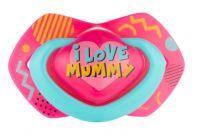 Canpol Babies 2 ks symetrických silikonových dudlíků, 6-18m, Neon Love Baby, růžovo, žluté
