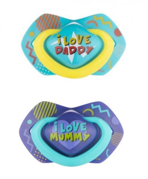 Canpol Babies 2 ks symetrických silikonových dudlíků, +18m, Neon Love Baby, modré