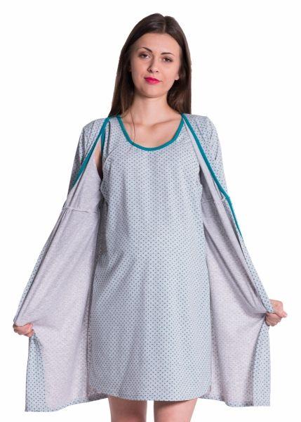 Be MaaMaa Těhotenská, kojící noční košile + župan - tečky, zelená