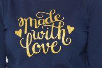 Be MaaMaa Těhotenské triko dlouhý rukáv Made with Love - tm. modrá - XL