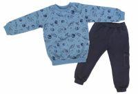 Mamatti Dětská tepláková souprava zapínání na boku Vesmír - modrá s potiskem, vel. 80