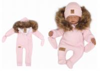Z&Z Zimní kombinéza s kapucí a kožešinou + rukavičky, růžová, vel. 74
