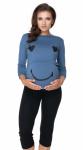 Be MaaMaa Těhotenské, kojící pyžamo 3/4 s dl. rukávem - modro/černé