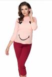 Be MaaMaa Těhotenské, kojící pyžamo 3/4 s dl. rukávem - růžovo/bordo