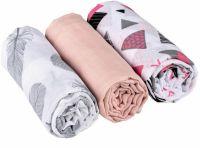Baby Nellys Mušelínové pleny 3ks Lux - Tvary, pírka, 70 x 80 cm, šedá/růžová/bílá