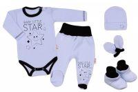 Baby Nellys 5-ti dílná soupravička do porodnice Baby Little Star - modrá, vel. 50