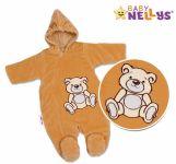 BABY NELLYS Zimní kombinézka/overálek Teddy Bear - tm. hnědá