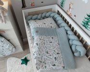 Baby Nellys 2-dílná sada do kočárku, kolébky, hnízdečka, Vafel, 3v1, bavlna LUX, Kapradí