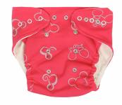 Mamatti Látková plenka EKO sada - kalhotky + 2 x plenka, Myška, vel. 3 - 8 kg, červená