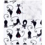 Nepromokavá flanelová podložka New Baby bílá s černou kočkou 33112