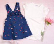 K-Baby Sada/Kojenecké body + sukně s láclem, Vlčí mák - modrá/bílá, vel. 92
