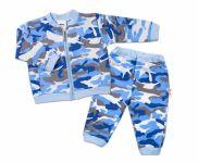 BABY NELLYS Kojenecká tepláková souprava Army, modrá, vel. 80