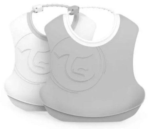 Plastový bryndák Twistshake, 2 ks - šedý/bílý, 4 m+