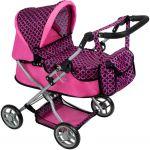 Hluboký kočárek pro panenky PlayTo Viola růžovo-černý 33120