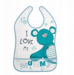 AKUKU Plastový bryndák/zástěrka s kapsičkou Teddy Bear -  modrý
