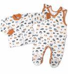 Baby Nellys  2-dílná sada, bavlněné dupačky s košilkou Car, smetanové, vel. 68