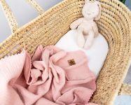 Baby Nellys Luxusní dvouvrstvá mušelínová dětská deka, 75 x 100 cm, pudrová