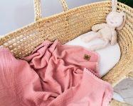 Baby Nellys Luxusní dvouvrstvá mušelínová dětská deka, 75 x 100 cm, růžová