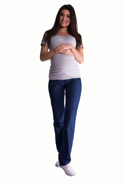 Be MaaMaa Bavlněné, těhotenské kalhoty s regulovatelným pásem - tm. modré, vel. XL
