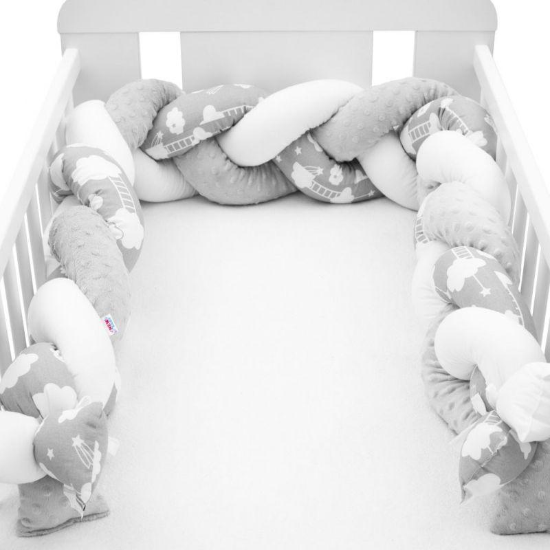 Ochranný mantinel do postýlky cop New Baby Minka a Mráček šedý