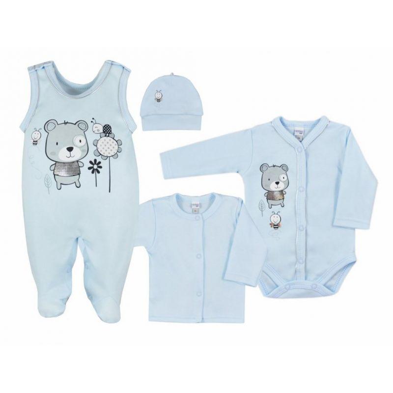 4-dílná kojenecká souprava v Eko krabičce Koala Darling modrá, Dárek chrastítko baby mix Rybka