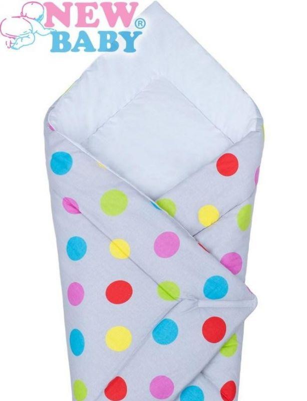 Bavlněná zavinovačka New Baby - barevné puntíky, šedá
