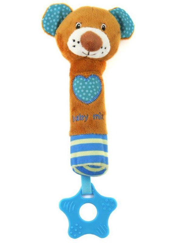 Dětská pískací plyšová hračka s kousátkem medvídek Baby Mix