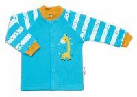 Baby Nellys Bavlněná košilka Giraffe, tyrkysová