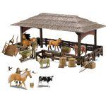 Stáj přístřešek pro koně a zvířata s příslušenstvím a chovateli