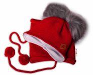 BABY NELLYS Zimní čepice s fleecem a chlupáčkové bambulky Star + komínek - červená, 104/11