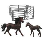 Sada koně 2 ks s ohradou tmavě hnědý s černou hřívou