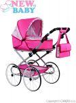 Dětský Retro kočárek pro panenky 2v1 New Baby Natálka růžový 29158