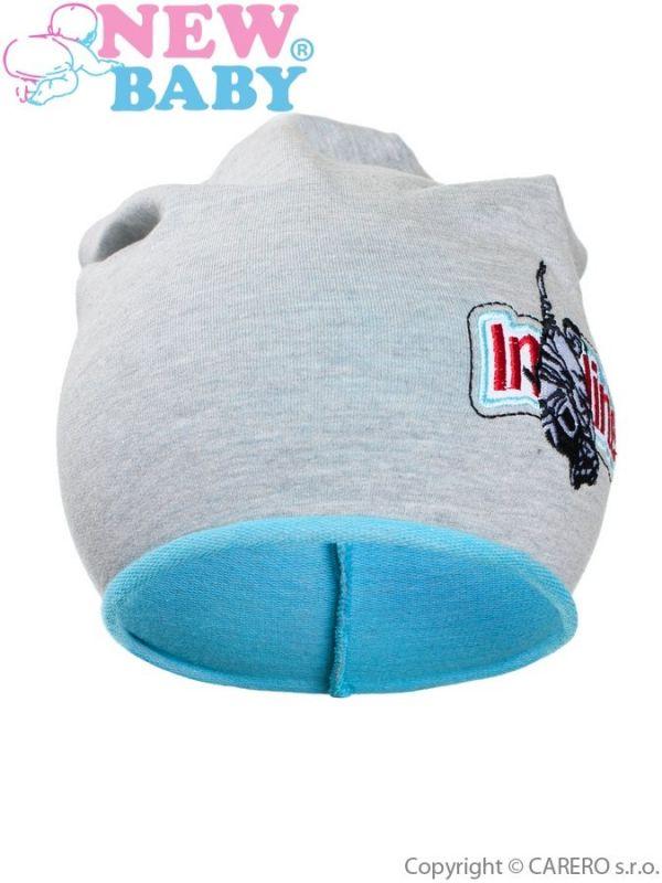 Podzimní dětská čepička New Baby In-line šedo-tyrkysová